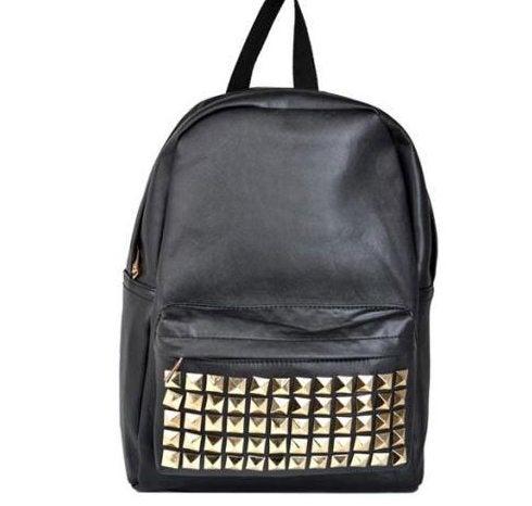 Image of Black Studded Backpack