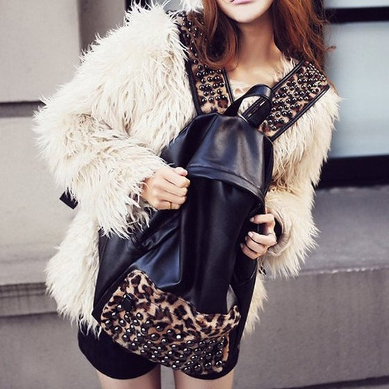 Image of Studded Leopard Backpack