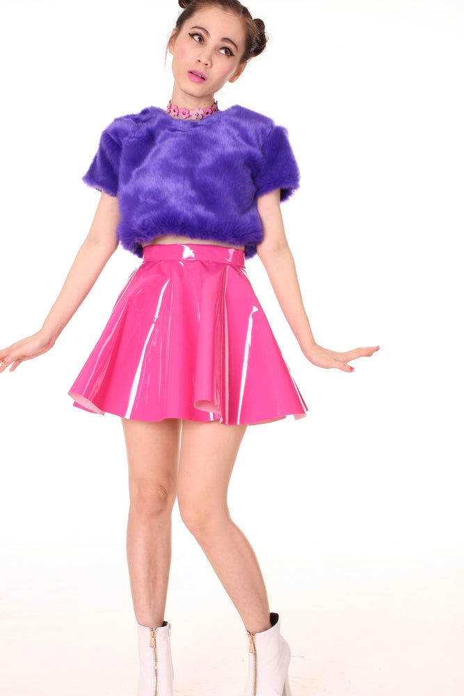 Image of Made To Order - Hot Pink PVC Skater Skirt