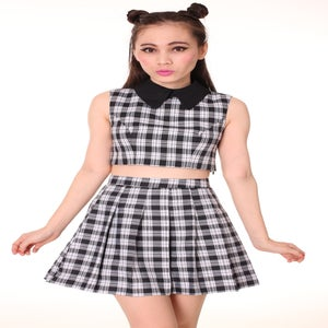 Image of Made To Order - As If Sleeveless Set in Black Checkered