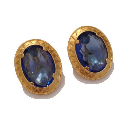 Image of SOLD OUT  YSL Yves Saint Laurent Vintage Crystal Blue Gemstone Earrings