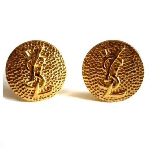 Image of SOLD OUT Yves Saint Laurent YSL Authentic Signed Round Logo Earrings - SUPERB CONDITION