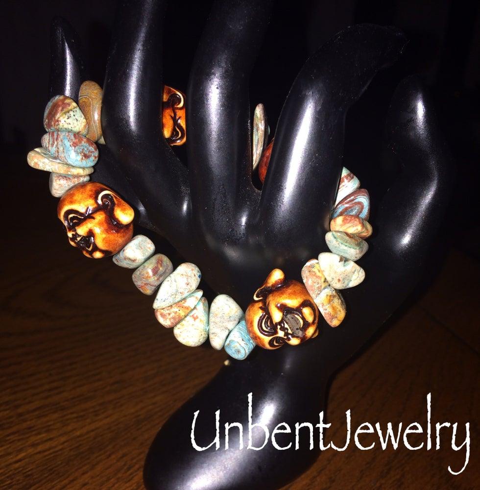 Image of Dyed Howlite Laughing Buddha Bracelet