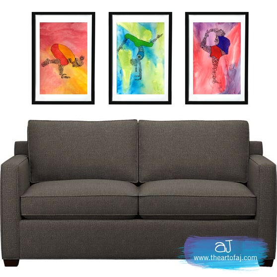Yoga beautiful set of three limited edition gicl e for Living room 12x18