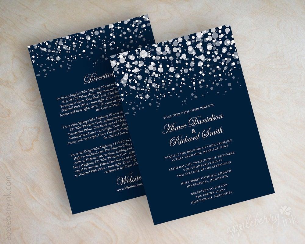 Glitter Navy Wedding invitations / Appleberry Ink - Simple ...