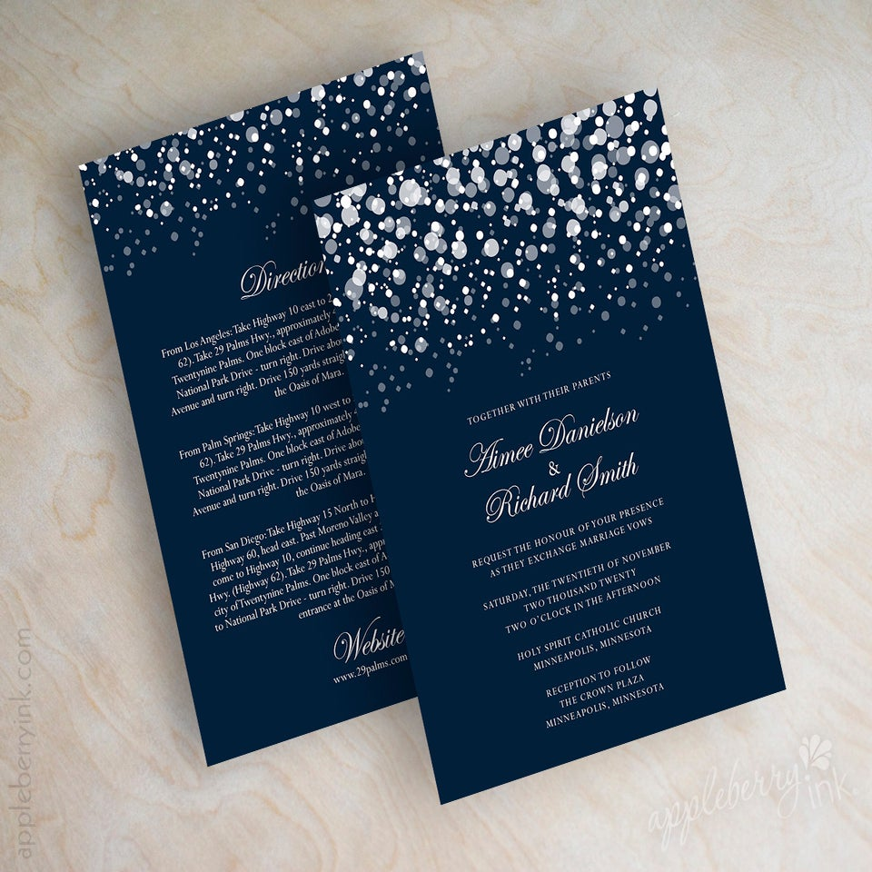 glitter navy wedding invitations    appleberry ink