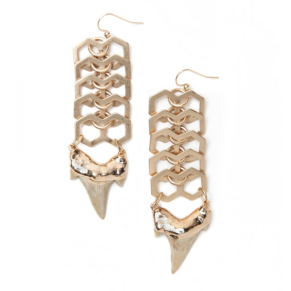 Image of Sharktooth Earring on Fishbone Chain