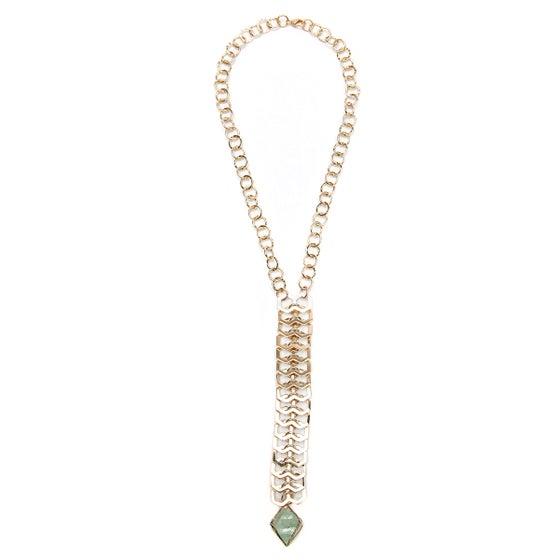 Image of Flourite Octahedron Fishbone Necklace