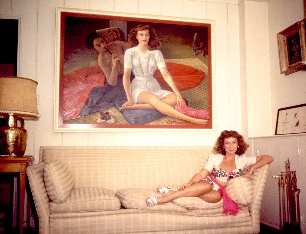 Image of Actress Paulette Goddard with Diego Rivera painting of herself
