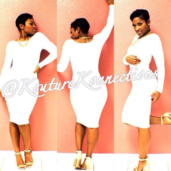 Image of White cotton bodycon dress