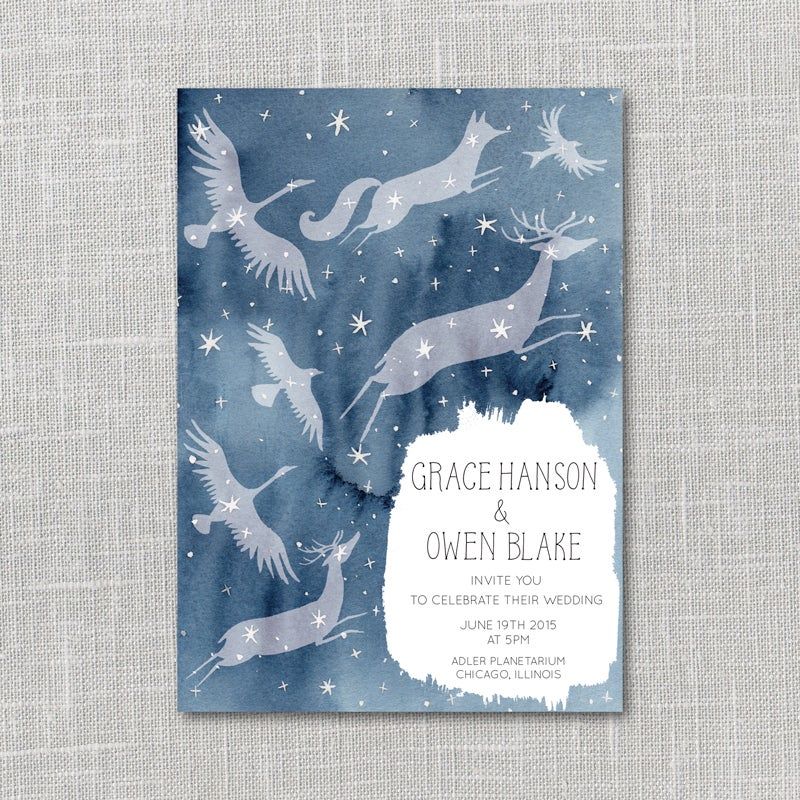 Image of Constellations Printable Wedding Invitation Suite with custom hand lettered names
