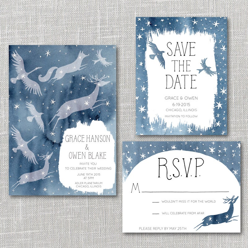 Constellations Printable Wedding Invitation Suite With