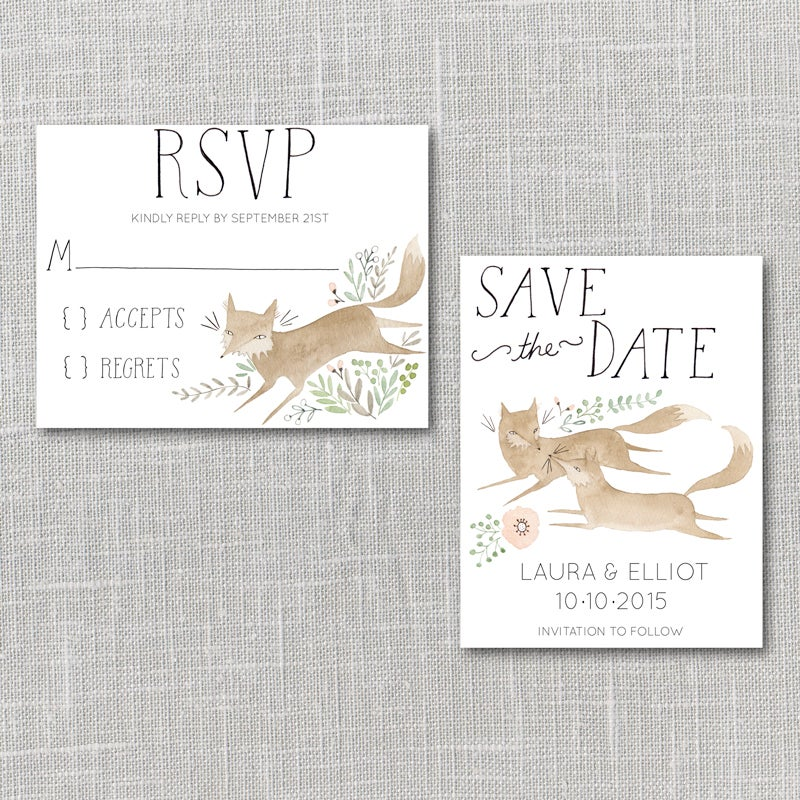 image of foxes printable wedding invitation suite with custom hand lettered names - Wedding Invitation Rsvp