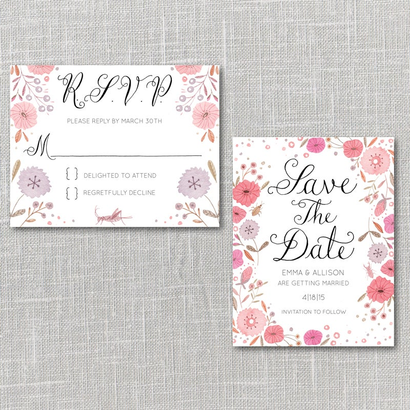 image of bright flowers printable wedding invitation suite with custom hand lettered names - Wedding Invitation Rsvp