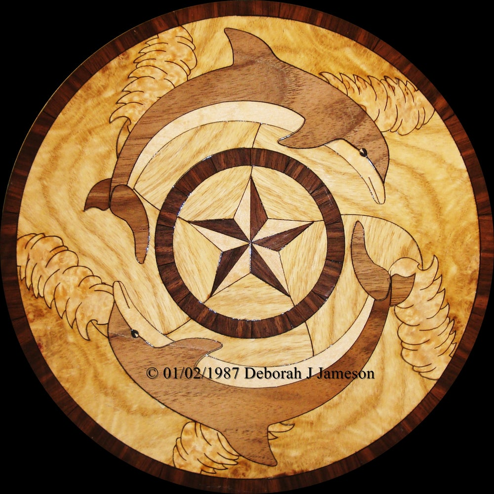 Dolphin Wood Inlays : Item no nautical dolphin inlay marquetry the