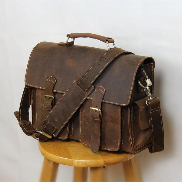 """Image of Vintage Handmade Crazy Horse Leather Briefcase / Messenger Satchel 13"""" MacBook 13"""" Laptop Bag (n23)"""