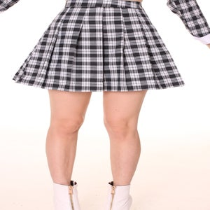 Image of Made To Order - Black Checkered Pleated Skirt by GFD