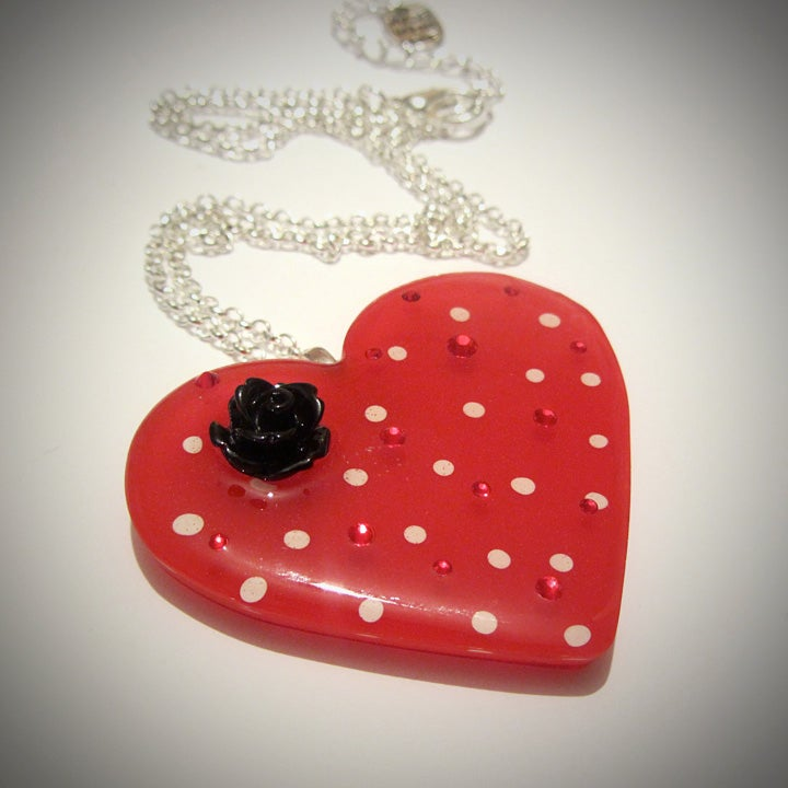 Image of Red & White Spot Retro Heart Pendant