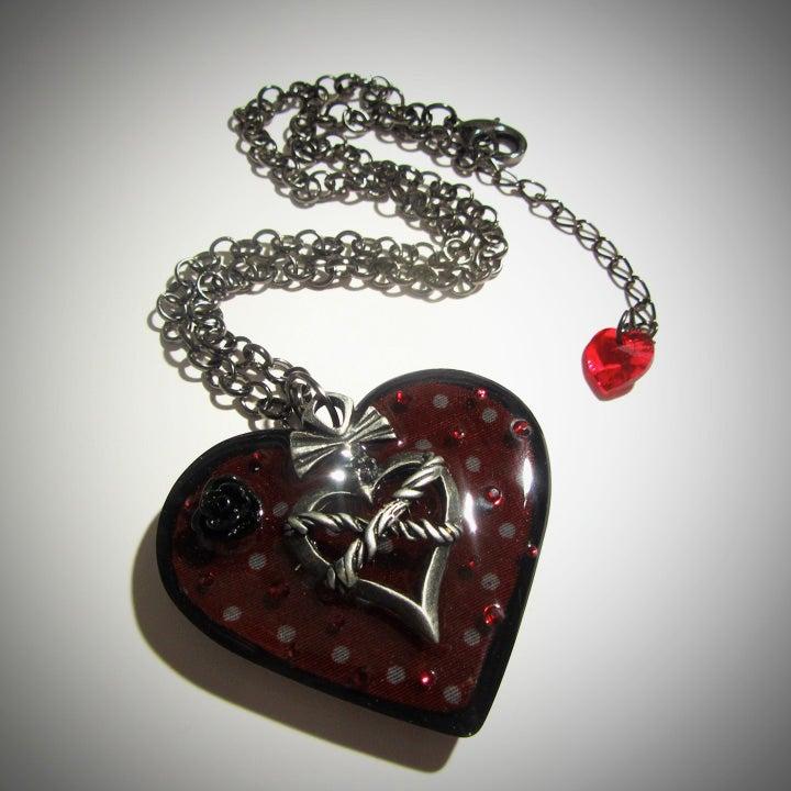 Image of Dark Red Spotty Retro Resin Heart Pendant