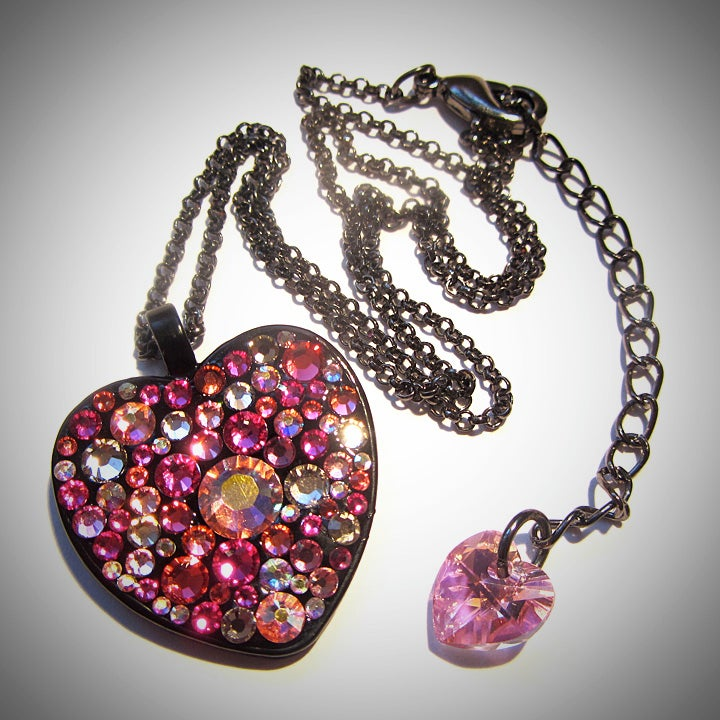 Image of Pink Rocks Black Heart Pendant