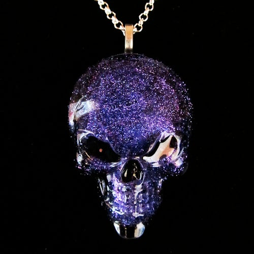 Image of Glitter Resin Skull Pendant