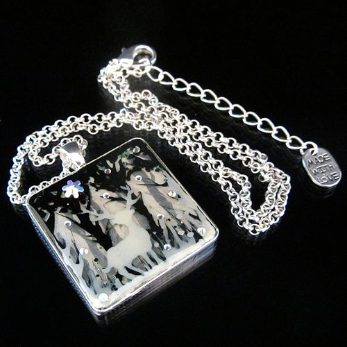 Image of Winter Sparkles Stag Square Silver Pendant
