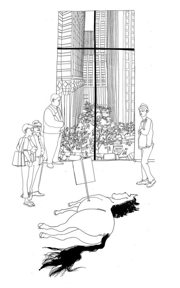 Image of Maurizio Cattelan at MoMA, Illustration