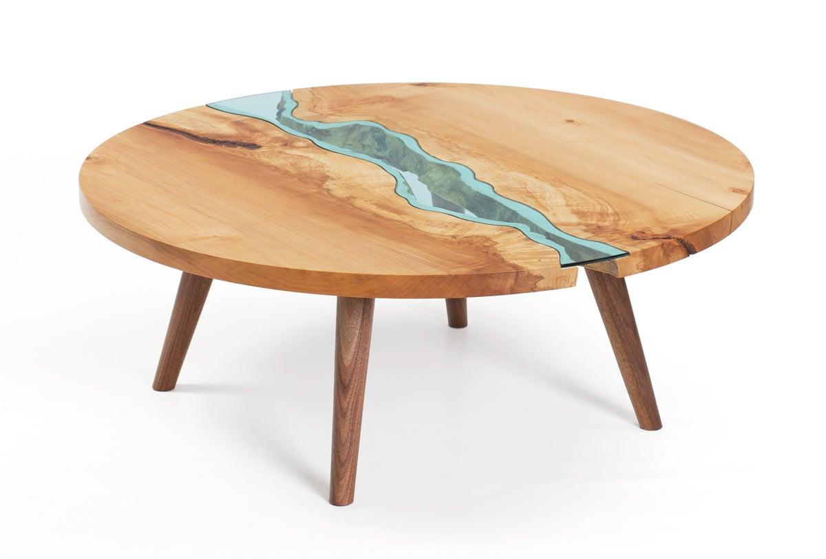 Round river coffee table greg klassen for Wooden furniture design