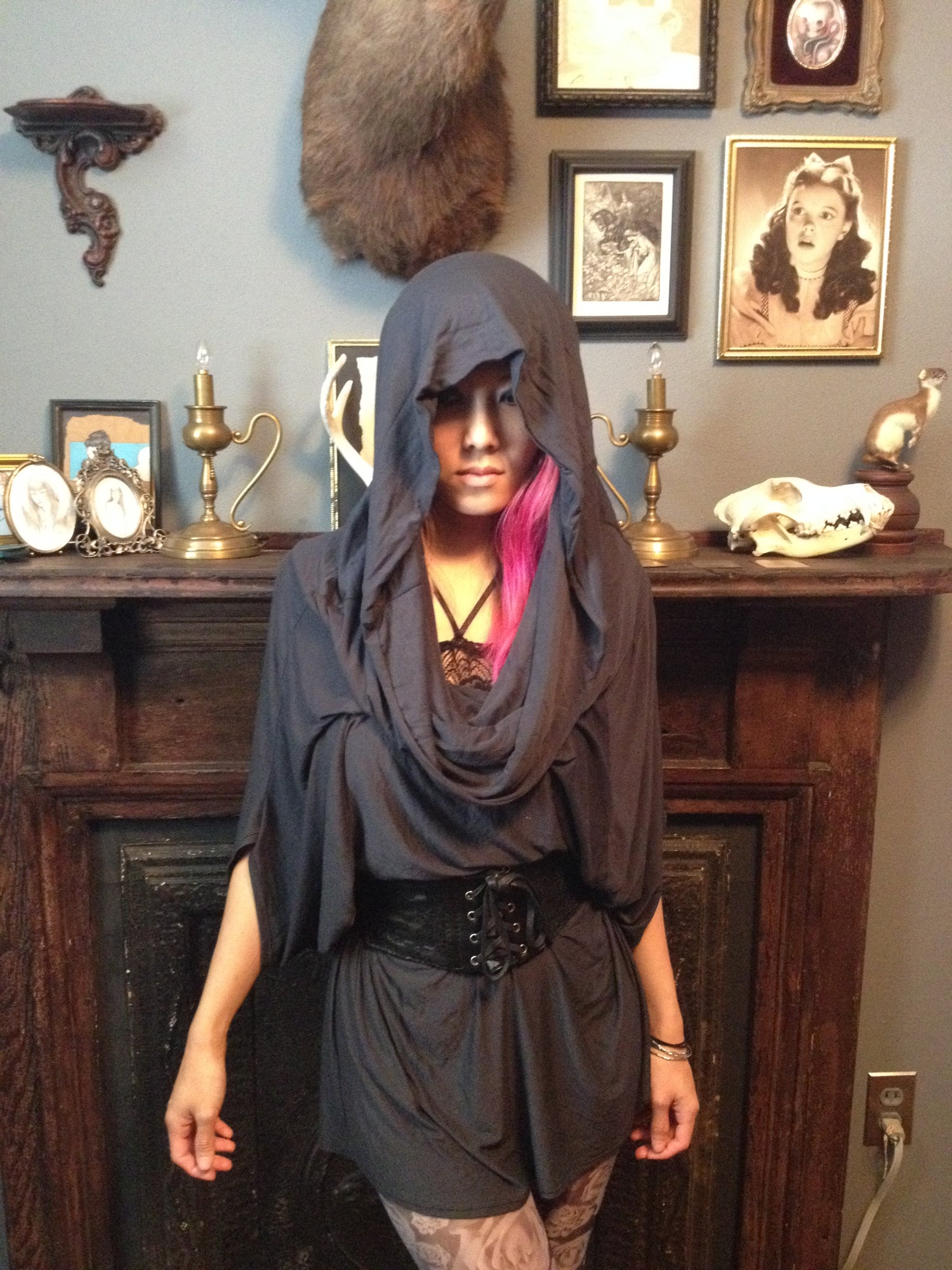 Image of GRIMREAPER OVERSIZED UNISEX TOP/TUNIC in charcoal