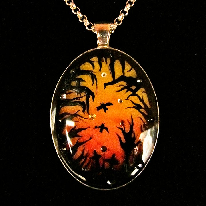Image of Halloween Sunset Oval Silver Pendant