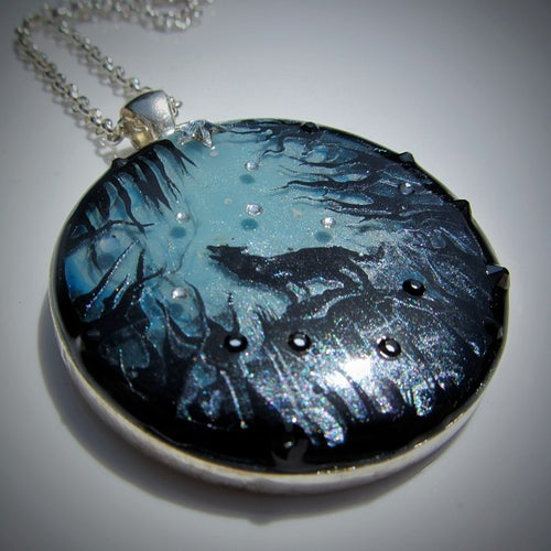 Image of Forest Macabre Wolf Silver Round Pendant