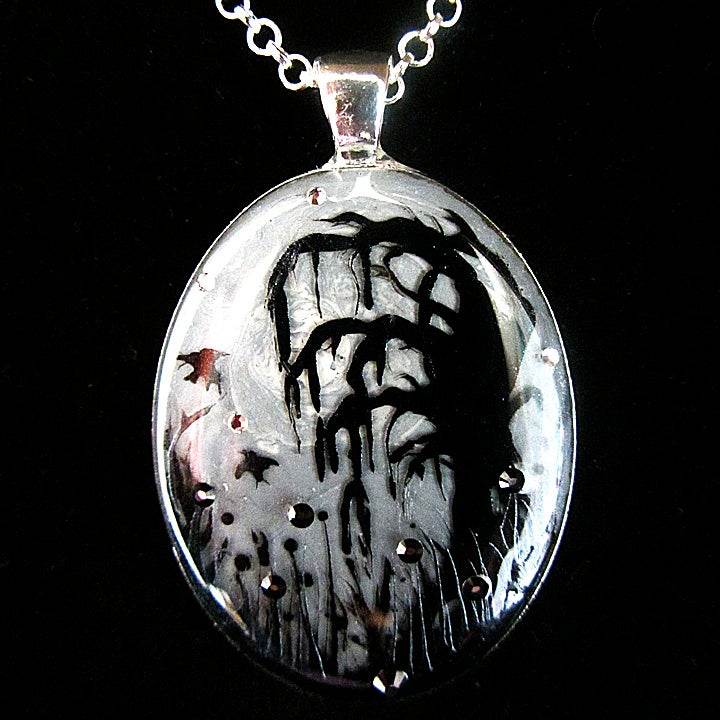Image of Forest Macabre Monochrome Oval Silver Pendant