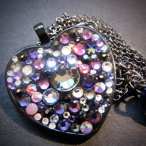 Image of Midnight Rocks Purple Black Heart Pendant