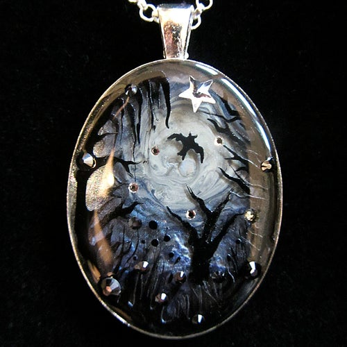 Image of Midnight Moon Silver Oval Pendant