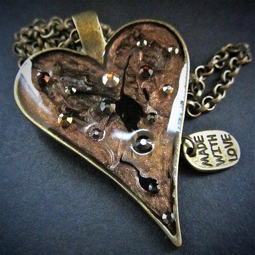 Image of Metal Rocks Heart Bronze Pendant