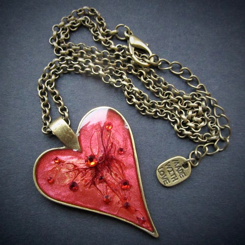 Image of Ruby Rocks Heart Bronze Pendant