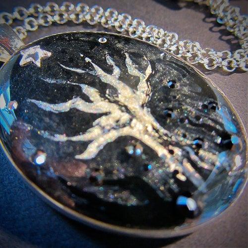 Image of Winter Sparkles Creepy Tree Silver Pendant