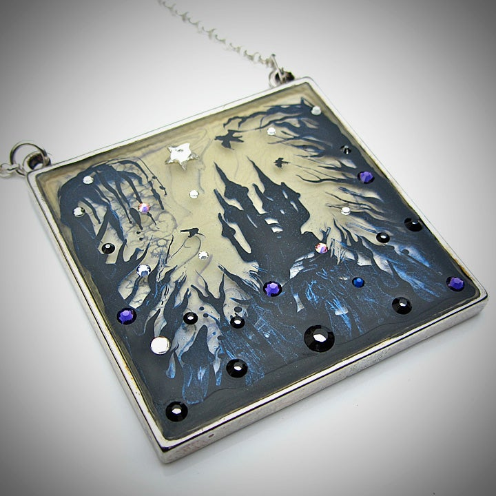Image of Forest Macabre Large Square Silver Pendant