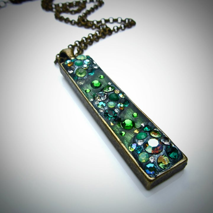 Image of Absinthe Rocks Long Skinny Bronze Pendant