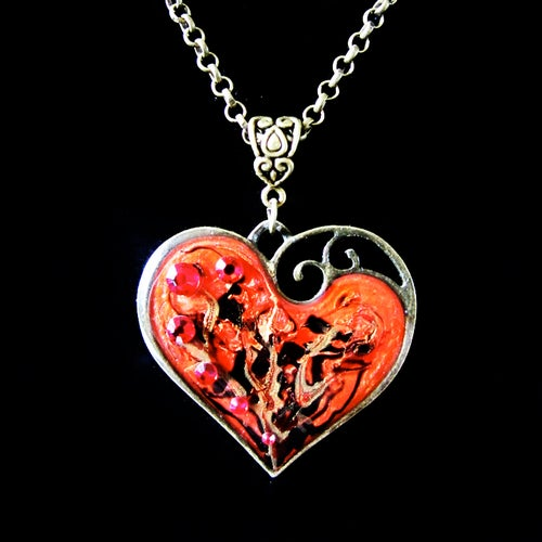 Image of Ruby Rocks Lazy Heart Bronze Pendant