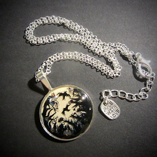 Image of Forest Macabre Silver Round Pendant