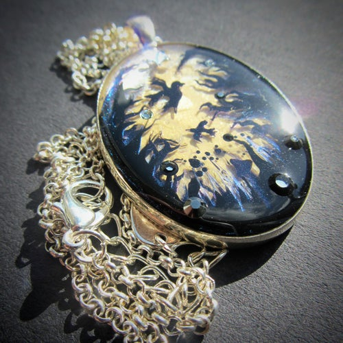 Image of Forest Macabre Oval Silver Pendant