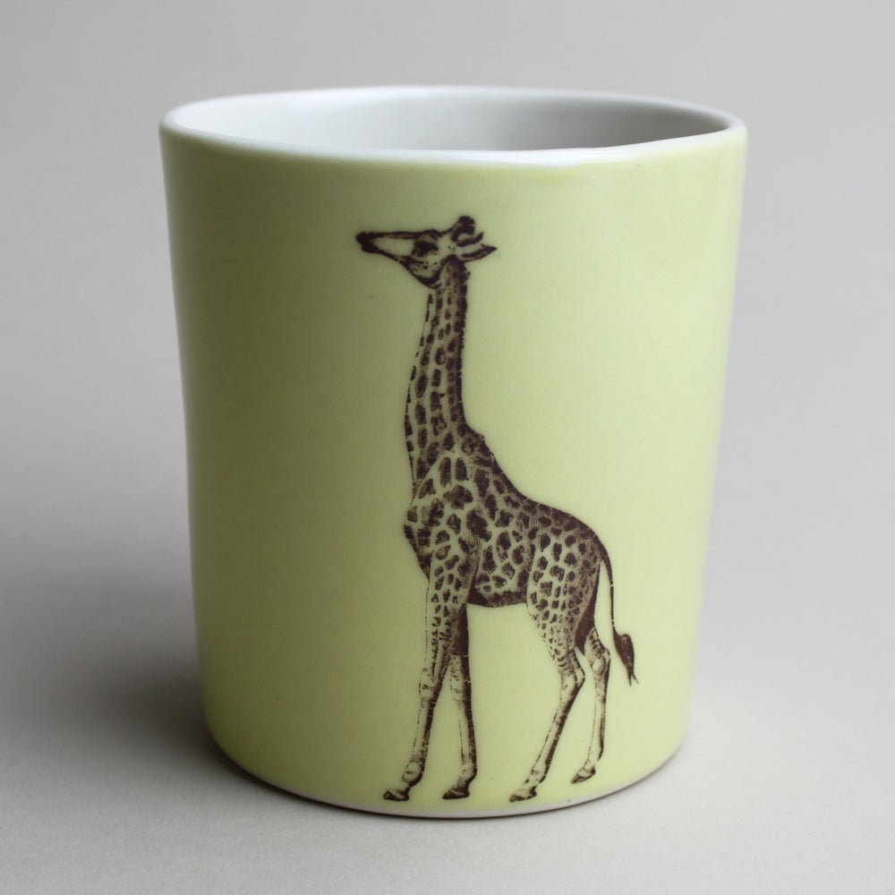 Image of 14oz tumbler with giraffe, mustard