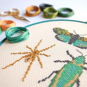 Image of Emerald Bug Trio cross-stitch kit