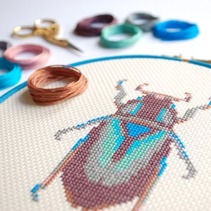 Image of Purple Beetle cross-stitch PDF pattern