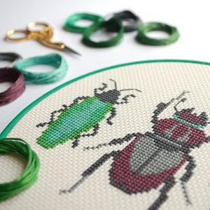 Image of Emerald Beetle Trio cross-stitch PDF pattern