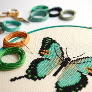Image of Mint Butterfly cross-stitch PDF pattern