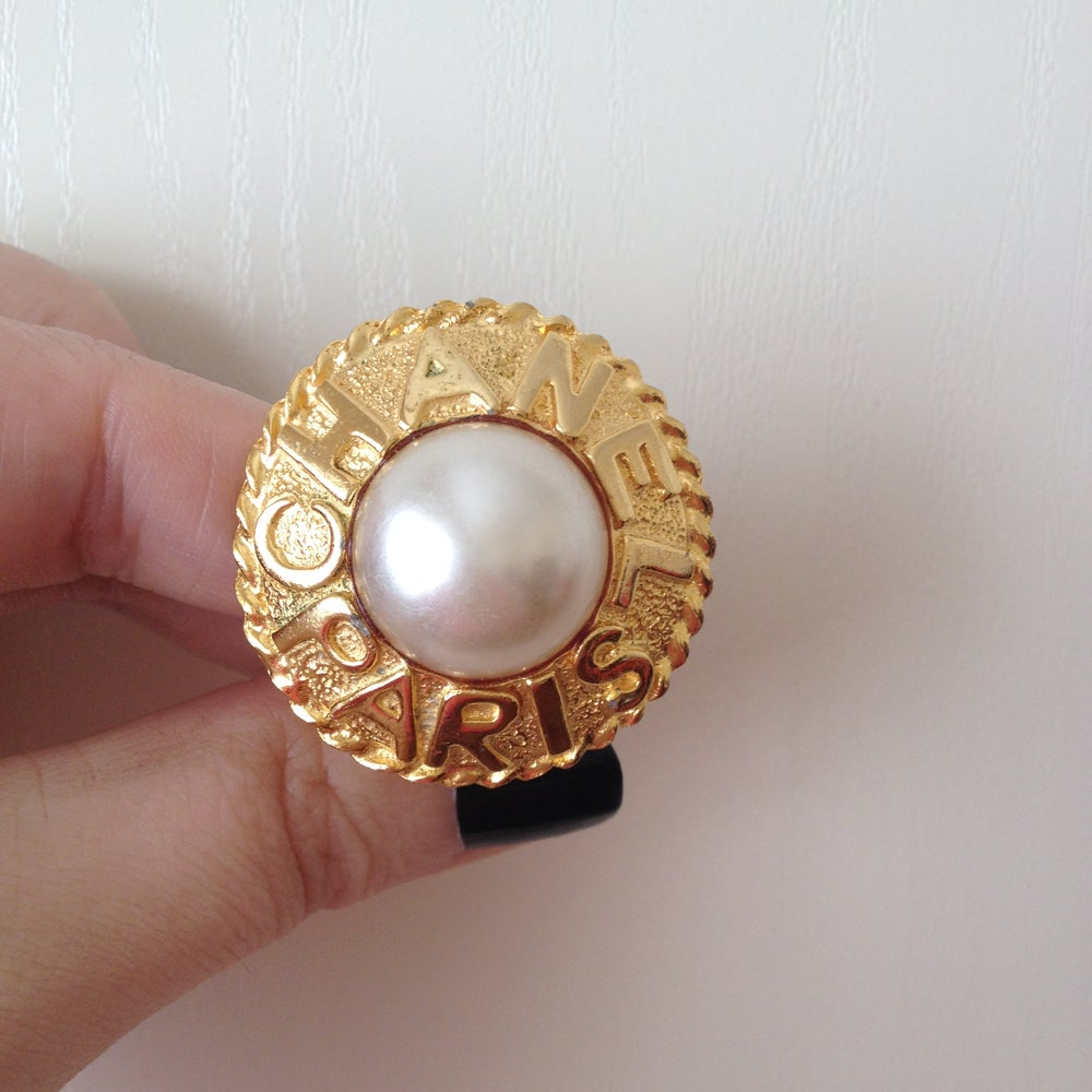 Image of SOLD OUT Chanel Earrings - Vintage Chanel Paris Faux Pearl Logo Round Clip On Earrings