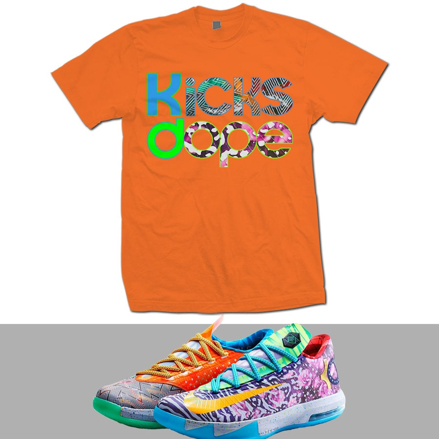 Image of WHAT THE KD WTKD KD 6 T SHIRT - ORANGE -