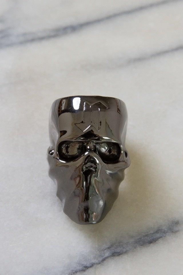 Image of DEATH SKULL RING - GUN METAL GREY (USA SIZE 9)